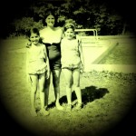 My mom, flanked by her two daughters. I used to be lanky.