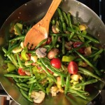 Veggies in the wok.