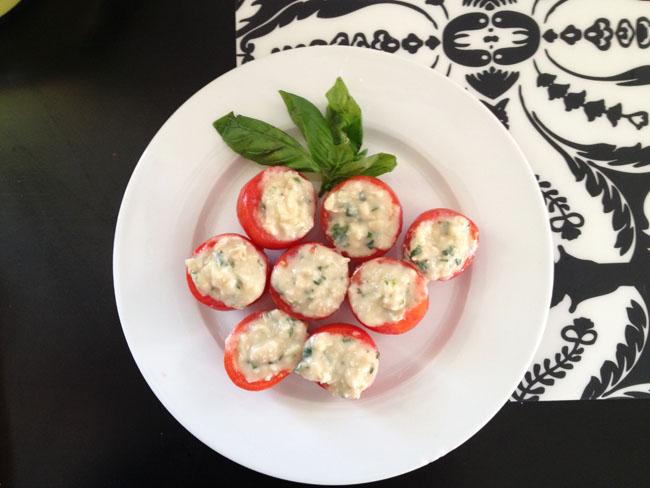 Ta-Da! Tomatoes Stuffed with Tangy Italian Hummus