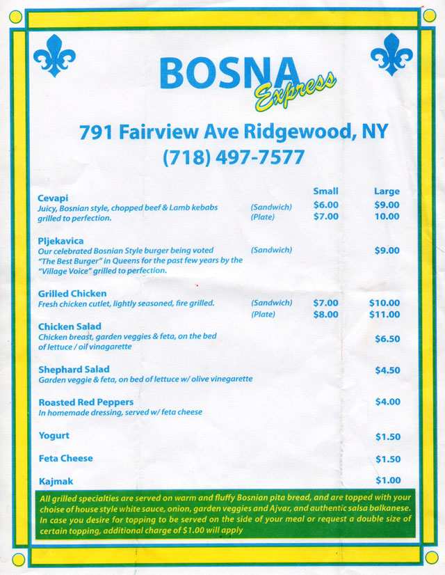 bosna menu ridgewood queens