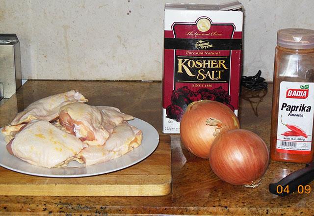 chicken paprikash - prep