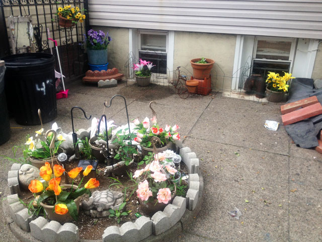 Fake flower garden of Ridgewood Queens