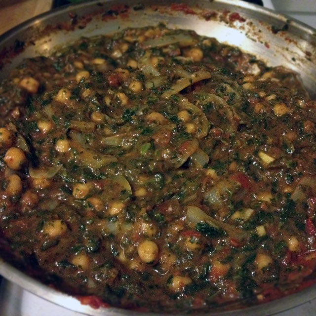 Curried Chick Peas and Spinach