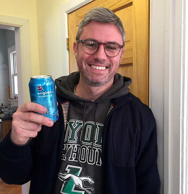 Matt-Gorton-Republican-District-Leader-in-38-Assembly-District,-drinking-seltzer-instead-of-beer-on-Rockaway-St.-Patricks-Day