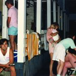 The O'Toole family on the  porch facing the court with the next generation of kids (early 90's)