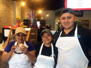 Shfrana Alli enjoying the Nixon bagel with her co-workers (1)