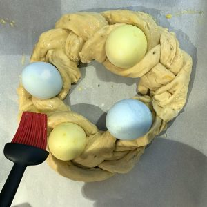 Placing the eggs within the braid was a challenge