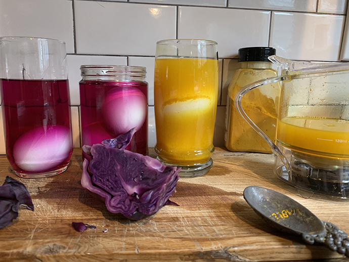 The bright color created from cabbage and turmeric