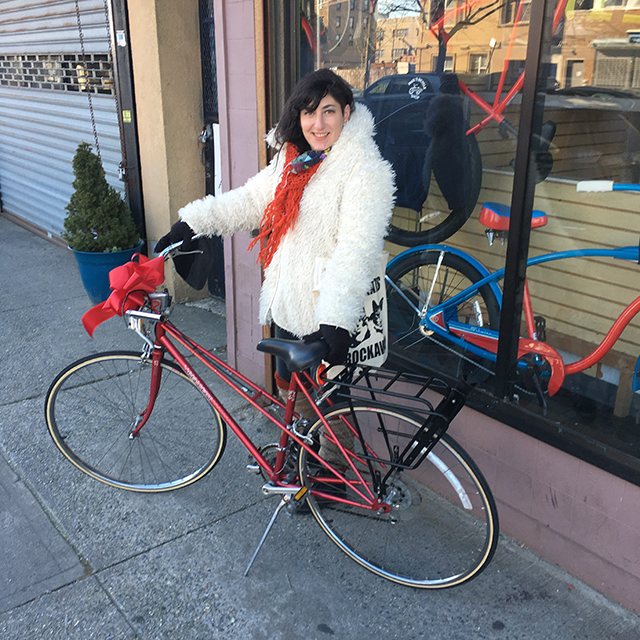 Posing with my new Peugeot in January infront of Paul's Bike Shop
